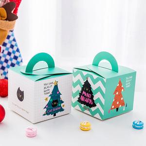 Fancy Decorative Christmas Paper Gift Boxes Flat Folding for Cup Cake