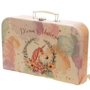 Corrugated Children Gift Packaging High Quality Suitcase Handle Giftbox Customized Hat Custom Made Kids Paper Suitcase