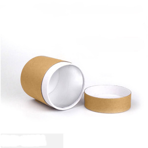 Wholesale Solid Kraft Paper Round Chinese Storage Coffee Spice Powder Container Boxes With Lid Tea Tin