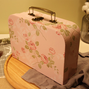 Flamingos Corrugated Children Gift Packaging Suitcase Paper Mini Lockable Carton Box Gift Suitcase