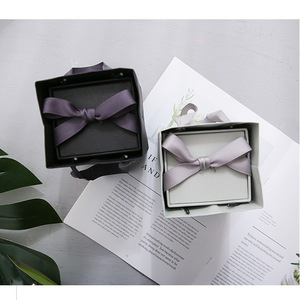 Fancy mini rigid cardboard slide drawer paper gift box ribbon with bag and pvc window  for soap for candle for flower wholesale
