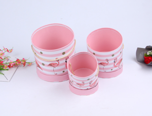 Lid Rigid Cylinder Cardboard Flowers Paper Gift Box with Handle For Rose Bouquet