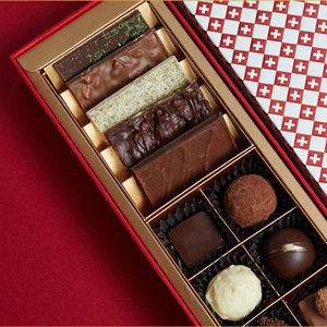 Top High Quality Rectangular Red Rigid Cardboard Gifts Bar Sweets Bonbon Packaging With Tray Candy Luxury Chocolate Paper Box