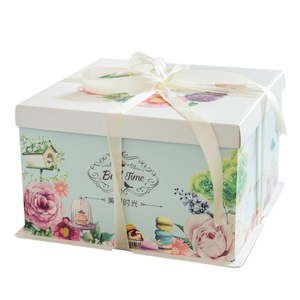 China Supplier Pretty Square Tall Birthday Cake Packaging Box with Lid