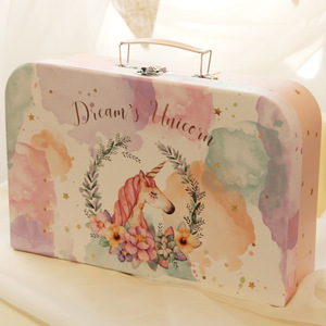 Mini Flamingos Corrugated Children Gift Packaging High Quality Handle Pu With Custom Printing Carton Paper Suitcase