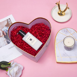 Pretty Heart Shape Marble Pattern Gold Stamping Lines Paper Boxes Gift Packaging Boxes For Flower