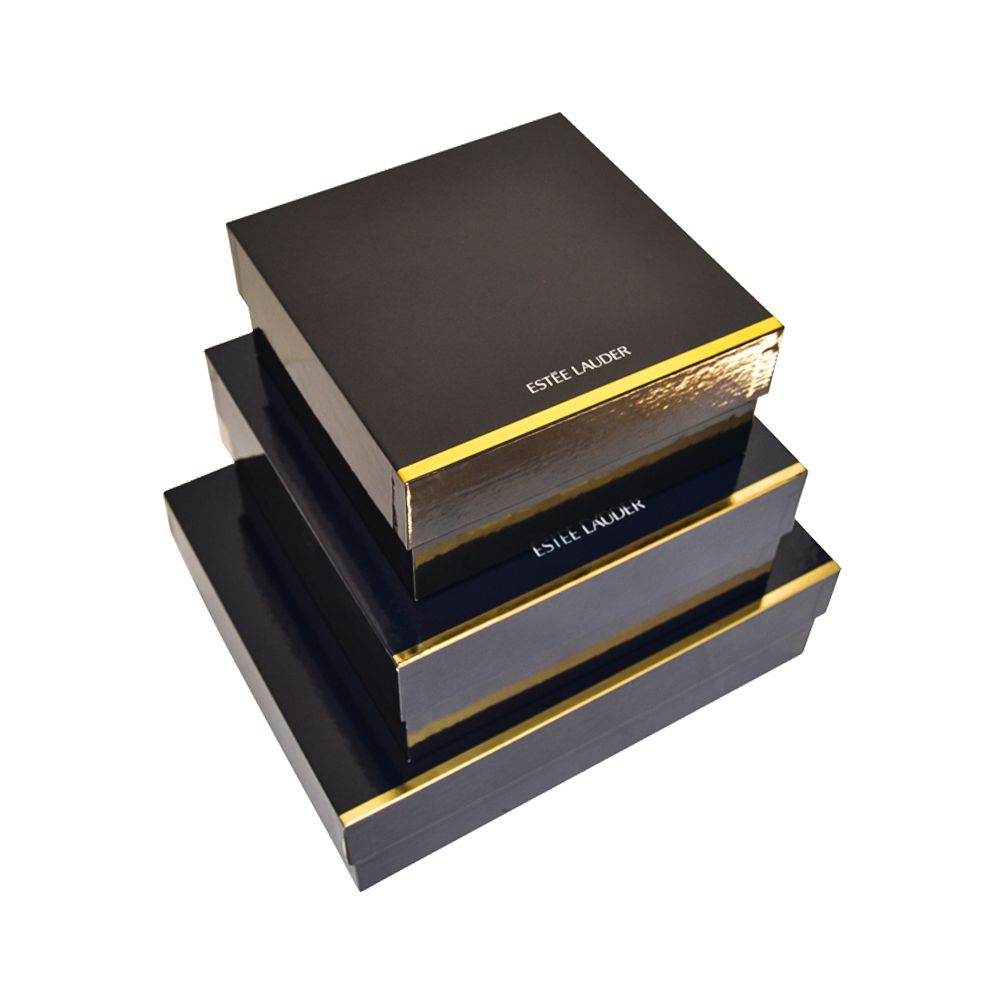 Black Hardboard Paper Lid and Tray Rigid Boxes Supplier