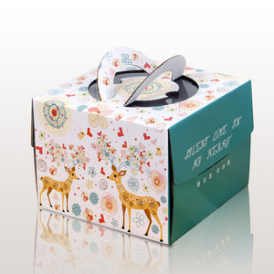 Favorable party decoration corrugated paper cake sweet box with handle