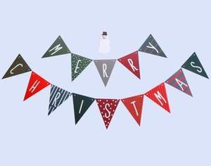 Merry Christmas Paper Bunting Party Decorations Shooting Props 15 Flags Strings Set Party Banner