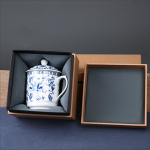 Custom luxury rigid brown kraft paper square mug bowl storage vase packaging Chinese tea cup saucer set box with insert