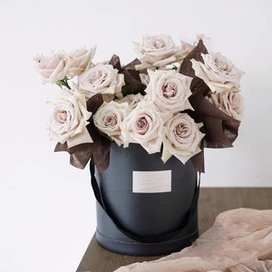 Custom rose gold logo stamping big round set paper flower boxes, gift preserved rose packaging flower box with lid ribbon handle