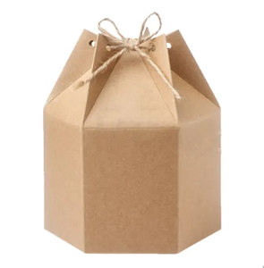 Gift Box Candy Party Hexagonal Doyle Kraft Paper Box with Rope China Manufacturer
