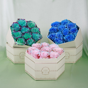 Luxury High Grade Delicate Gold Foil Cardboard Paper Rose Flower Jewelry Packaging Hexagon Gift Box with Lid