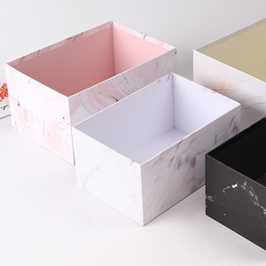 Paper Gold Foil Edge White Marble Gift Rose Bouquet Packaging Cardboard Flowers Boxes Package Customized Rectangle Flower Box